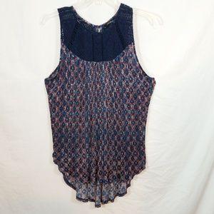 Lucky Brand boho crochet & accordion long tank top